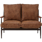New Foundry Two Seater Sofa - Brown Leather Effect