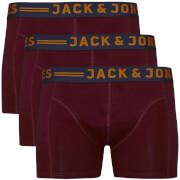 Jack & Jones Men's Lichfield 3 Pack Boxers - Burgundy/Navy/Grey - L - Burgundy/Blue/Grey