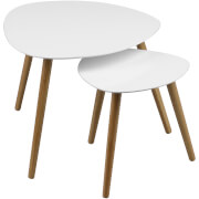 Fifty Five South Nostra Side Table (Nest of 2) - White High Gloss