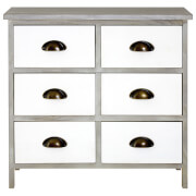 Fifty Five South New Urban Six Drawer Loft Chest - White/Grey Wash