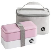 Grub Tub Lunch Box with Cool Bag - Pink/Grey