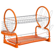 2 Tier Dish Drainer - Chrome/Orange