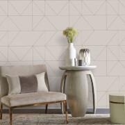 Kelly Hoppen Geo Geometric Metallic Wallpaper - Taupe/Khaki