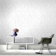 Superfresco Dance Glitter Geometric Wallpaper - Silver/White