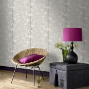 Boutique Sakura Cork Effect Metallic Cherry Blossom Wallpaper - Soft Grey/White