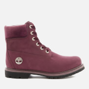 Timberland Women's 6 Inch Water Resistant Boots - Port Royale Waterbuck with Velvet Collar - UK 3 - Burgundy