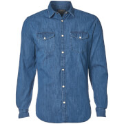 Jack & Jones Men's Originals New One Long Sleeve Denim Shirt - Dark Blue