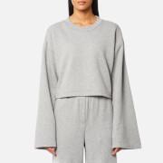 T by Alexander Wang Women's Tie Back Long Sleeve Crop Sweatshirt - Heather Grey