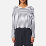 T by Alexander Wang Women's Long Sleeve Drop Shoulder T-Shirt - White/Navy Stripe - L - Multi