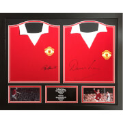 Image of Bobby Charlton and Denis Law Signed and Framed Shirts