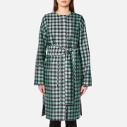 Diane von Furstenberg Women's Flare Belted Coat - Cossier Large Aqua - S - Black