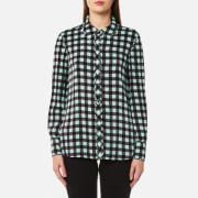 Diane von Furstenberg Women's Collared Shirt - Abel Check Ivory/Peony - US 4/UK 8 - Multi