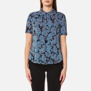Diane von Furstenberg Women's Short Sleeved Collared Shirt - Orsel Alexander Navy - US 4/UK 8 - Blue