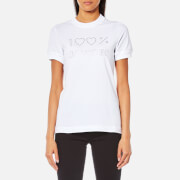 Love Moschino Women's 100 Percent Crystal Logo T-Shirt - White