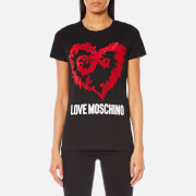 Love Moschino Women's Large Heart Logo T-Shirt - Black
