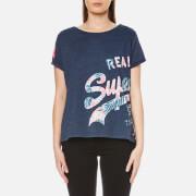 Superdry Women's Vintage Logo Wrap Round Boyfriend T-Shirt - Princeton Blue Marl