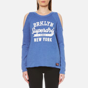 Superdry Women's Newton Cold Shoulder Crew Sweatshirt - 90's Mid Blue