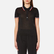 Alexander Wang Women\'s Polo Shirt with Contrast Striping Trims - Onyx - L - Black