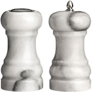 Premier Housewares Salt Shaker and Pepper Mill Set - White Marble (10 x 6cm)