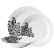 Premier Housewares 12 Piece Avie Casablanca Dinner Set - Black Porcelain