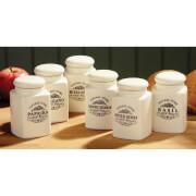 Premier Housewares Vintage Home Spice Jars (Set of 6) - Cream Ceramic