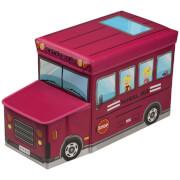 Premier Housewares School Bus Children's Storage Box/Seat - Hot Pink