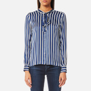 GANT Women's Vertical Striped Bow Blouse - Hurricane Blue