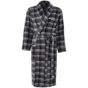 Ben Sherman Men's Mitchell Stripe Fleece Robe - Black/Grey