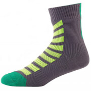 Sealskinz MTB Ankle Socks with Hydrostop - Anthracite/Lime - L - Grey/Green