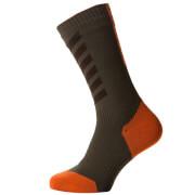 Sealskinz MTB Thin Mid Socks with Hydrostop - Olive/Brown/Orange