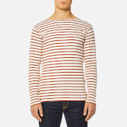 Armor Lux Men's Heritage Breton Stripe Long Sleeve Top - Nature/Brick
