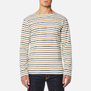 Armor Lux Men's 4 Stripe Long Sleeve Top - Nature/Acacia/Seal