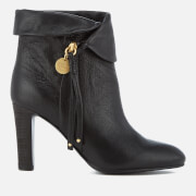 See By Chloé Women's Leather Fold Over Heeled Ankle Boots - Nero