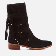 See By Chloé Women's Leather Mid Calf Heeled Boots - Nero