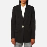 Alexander Wang Women's Single Breasted Peaked Lapel Jacket with Leather Sleeve - Black - UK 10/US 6 - Black