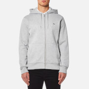Lacoste Men's Zipped Hoody - Silver Chine/Navy Blue