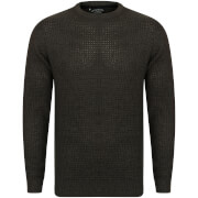 Kensington Men's Crew Neck Jumper with Waffle Stitch - Charcoal