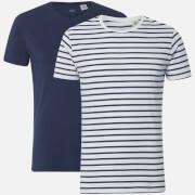 Levi's Men's Slim 2 Pack Crew T-Shirt - Dress Blues/Striped Marshmallow