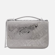 Love Moschino Women's Metallic Embossed Logo Shoulder Bag - Silver
