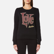 Love Moschino Women's Large Love Logo Sweatshirt - Black