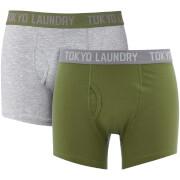 Tokyo Laundry Men's Harleton 2 Pack Boxers - Olivine Khaki/Light Grey Marl