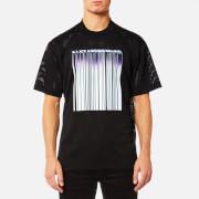 Alexander Wang Men's Athletic Mesh T-Shirt with Purple Chrome Barcode - Black