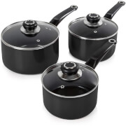 Morphy Richards 970030 3 Piece Saucepan Set - Black