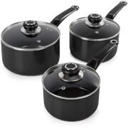 Morphy Richards 970030 3 Piece Saucepan Set - Black