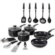 Morphy Richards 970040 Equip 5 Piece Pan Set with 9 Piece Tool Set - Black