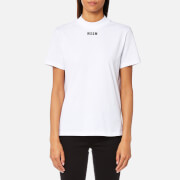 MSGM Women's High Neck Logo T-Shirt - White