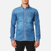 Superdry Men's London Loom Long Sleeve Shirt - Classic Blue Wash