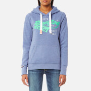 Superdry Women's Triple Swoosh Entry Hooded Sweatshirt - Gritty Menthol Marl