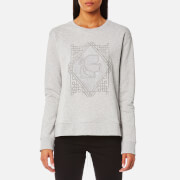 Karl Lagerfeld Women's Embroidered Pleated Back Sweatshirt - Grey