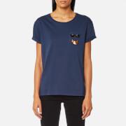 Karl Lagerfeld Women's Croissant Pocket T-Shirt - Peacoat